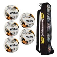 Tube of 5 Mitre Ultimatch Hyperseam Match Footballs (Sizes 3,4,5)