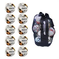 Ball Sack of 10 Mitre Ultimatch Hyperseam Footballs (3,4,5)