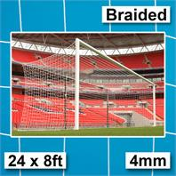 Harrod 4mm Braided Box Profile Euro Goal White Nets (PAIR) (24 x 8ft)