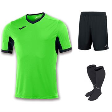 Joma Champion IV Short Sleeve Full Kit Set - Fluo Green/Black
