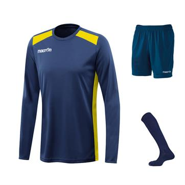 Macron Sirius Long Sleeve Full Kit Set - Navy / Yellow