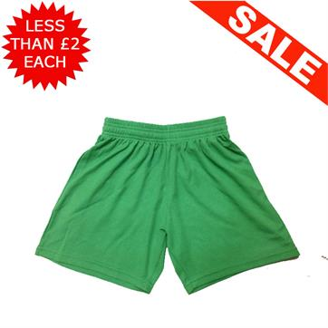"Clearance Football Shorts - Bundle of 20 x Green (22/24"")"