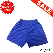 "Clearance Football Shorts - Bundle of 8 x Royal (22/24"")"