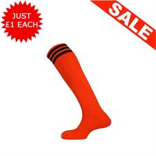 Clearance Football Socks - Tangerine / 3 Black x 10 (3-6)