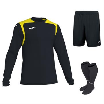 Joma Champion V Long Sleeve Full Kit Set - Black/Yellow