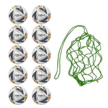 Net of 10 Mitre Ultimatch Max Hyperseam Match Footballs (4,5)