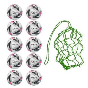 Net of 10 Mitre Ultimatch Plus Hyperseam Match Footballs 2018 (3,4,5)
