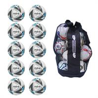Ball Sack of 10 Mitre Ultimatch Core Hyperseam Match Footballs (3,4,5)