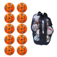 Ball Sack of 10 Mitre Impel Core FLUO Training Footballs 2018 (3,4,5)