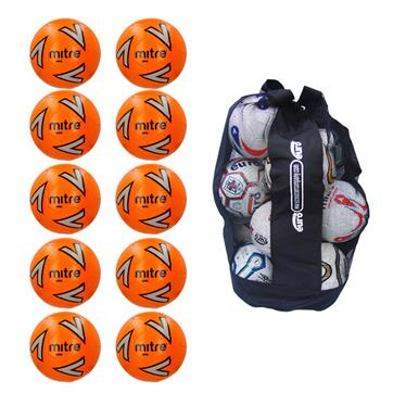 Ball Sack of 10 Mitre Impel Core FLUO Training Footballs (3,4,5)