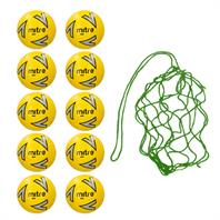 Net of 10 Mitre Impel Core FLUO Training Footballs 2018 (3,4,5)