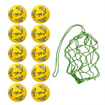 Net of 10 Mitre Impel Core FLUO Training Footballs (3,4,5)