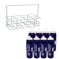 Euro Navy Water Bottle & Crate Set (8 Bottles in Metal Crate)