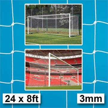 Harrod 3mm White Box Profile Nets for Socketed & Fence Folding Goals (PAIR) (24 x 8ft)