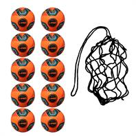 Net of 10 iPro Nova Training Footballs with High Performance Coating (Orange)