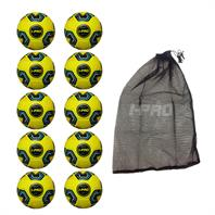 Net of 10 iPro Nova Training Footballs with High Performance Coating (Yellow)