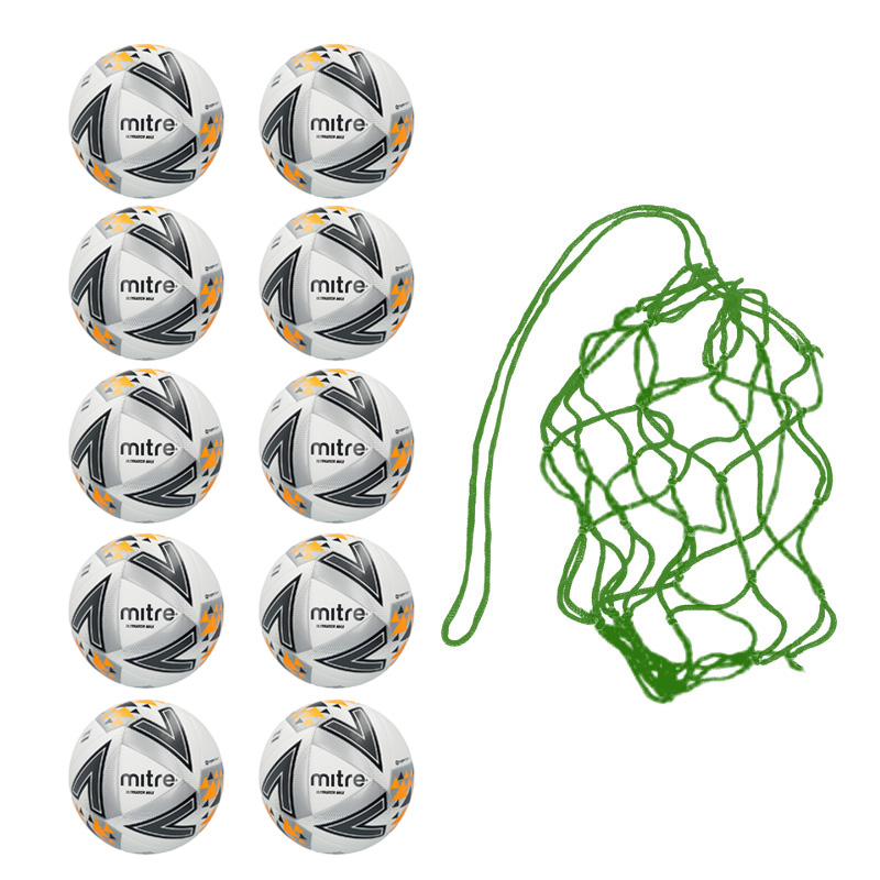 Net of 10 Mitre Ultimatch Max Hyperseam Match Footballs 2018 (4,5)