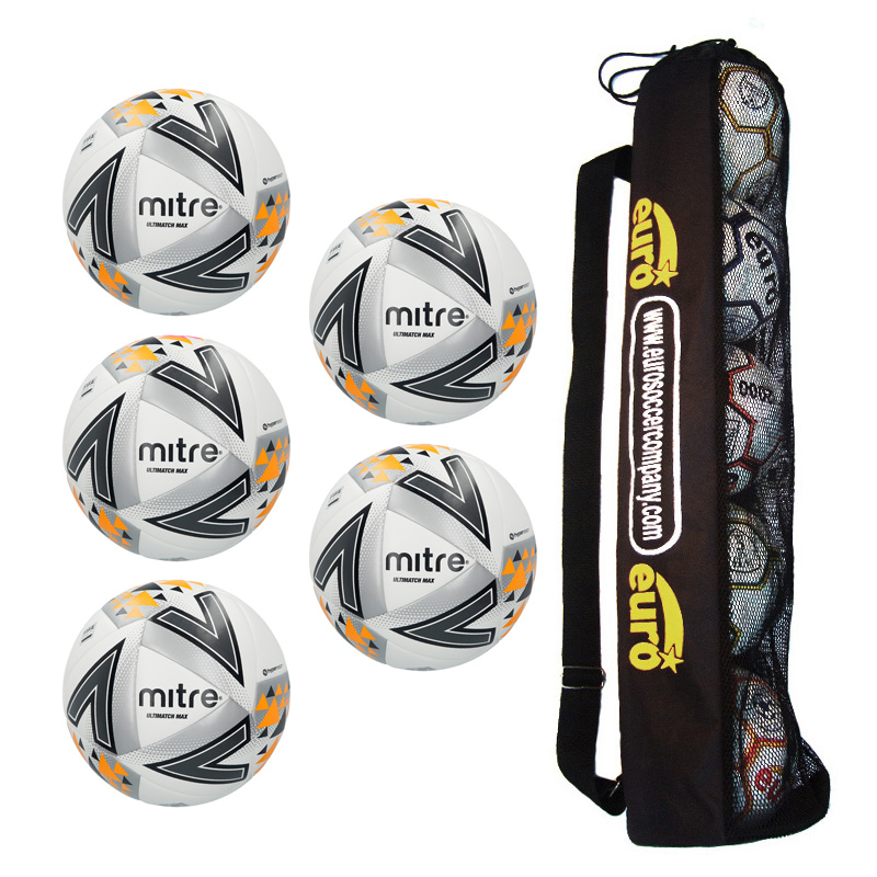 Tube of 5 Mitre Ultimatch Max Hyperseam Match Footballs 2018 (4,5)