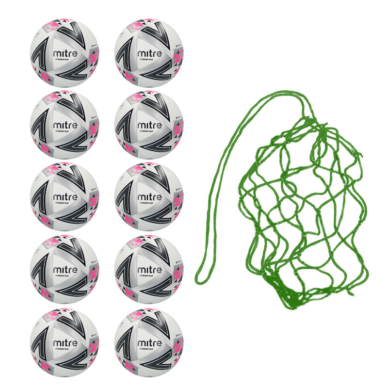Net of 10 Mitre Ultimatch Plus Hyperseam Match Footballs (3,4,5)