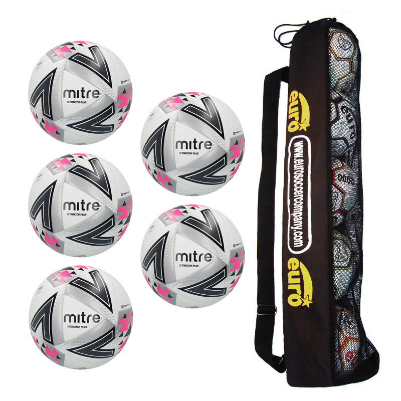 Tube of 5 Mitre Ultimatch Plus Hyperseam Match Footballs 2018 (3,4,5)