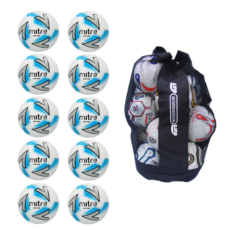 Ball Sack of 10 Mitre Impel Max Training Football 2018 (3,4,5)