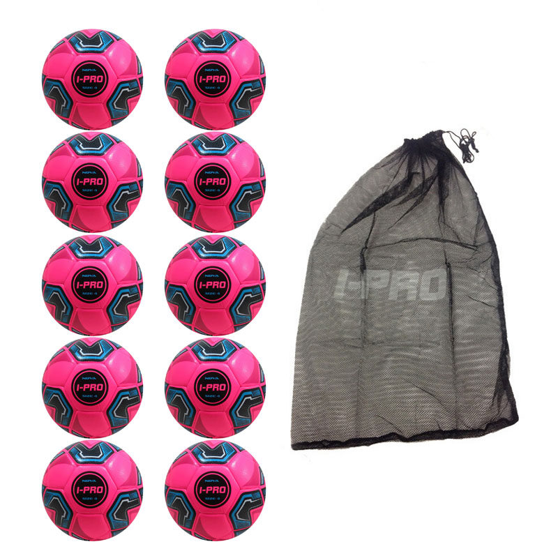 Net of 10 iPro Nova Training Footballs with High Performance Coating (Pink)