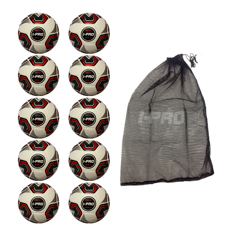 Net of 10 iPro Nova Training Footballs with High Performance Coating (White)